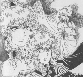 Fersen recognizes Oscar as the mysterious noblewoman at the ball. The Rose of Versailles, vol. 3, p. 76.