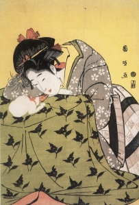 "Utagawa Kunimasa, ""Young Woman and a Cat at a Kotatsu"" Tokyo National Museum. Ukiyo-e, Nihon bijutsu zenshū, Tokugawa, (Comprehensive Collection of Japanese Art) vol. 20 (Kōdansha, 1991), p. 34. Via Japan Focus."