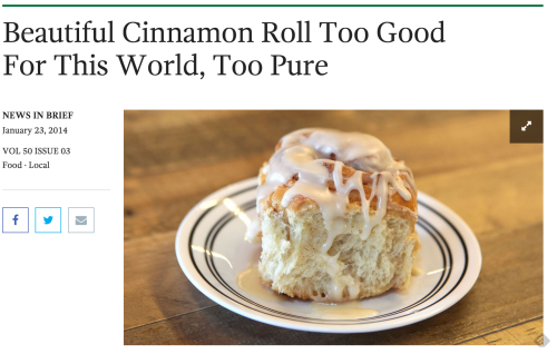 "[Image from The Onion: a cinnamon bun roll with the caption ""Beautiful Cinnamon Roll Too Good for This World, Too Pure"""