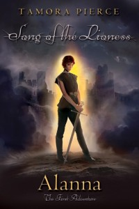 Case in point. [Image: Newest Twilight-inspired cover of Alanna, featuring a very thin, Peter-Pannish girl wearing a sleeveless tunic and holding a sword]
