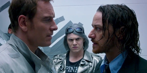 [Image: X-Men Days of Future Past: Erik and Charles staring intensely into each other's eyes at their first meeting after 10 years. Are they going to kiss? Quicksilver in the background, not sure how to react.]