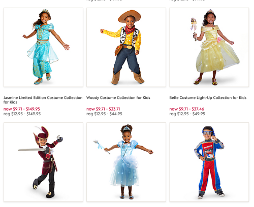 [Image: Screenshot of Disney children's costumes with children of color as Jasmine, Woody, Belle, Hook, Cinderella.