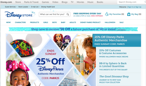 [Image: screenshot of the Disney Store front page, with