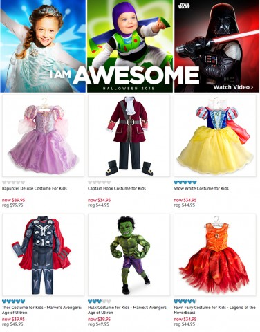 [Image: Screenshot of Disney's children's costumes page, with the text